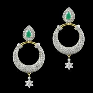 Gold Plated Zircon And Emerald Stone Chandbali Party Wear Earrings