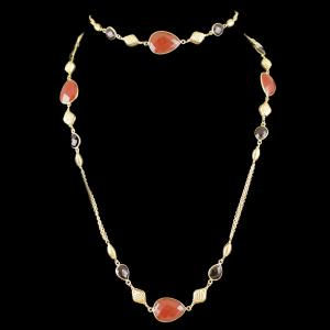 Gold Plated Onyx Stone Party Wear Long Chain
