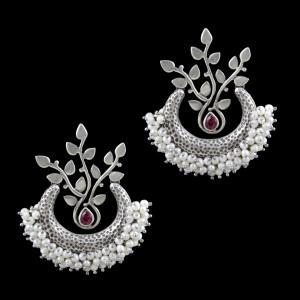 Oxidized Silver Pearl And Corundum Stone Chandbali Earrings