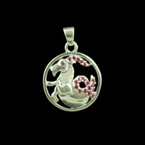 Zodiac Capricorn Sun Sign Silver Pendant With Zircon Stone