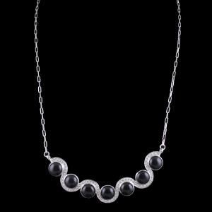 Sterling Silver Party Wear Necklace With CZ And Black Onyx Stone