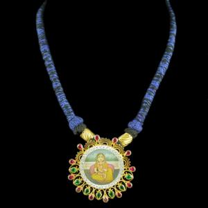 Gold Plated Hand Painting Thread Necklace With CZ Green Hydro St