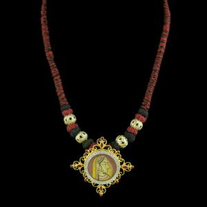 Gold Plated Hand Painting Thread Necklace With CZ Red Corundum S
