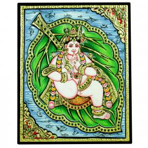 TANJORE PAINTING BABY KRISHNA IN LEAF