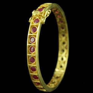 Gold Plated Corundum Stone Lock Bangles