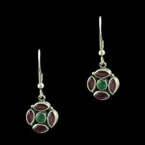 Oxidized Silver Floral Hanging Earring With Red Corundum And Gre