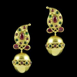 Gold Plated Mango Design Earrings With Red Corundum And Onyx Sto