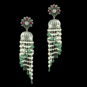OXIDIZED SILVER JHUMKAS STUDDED RED AND GREEN CORUNDUM STONES WI