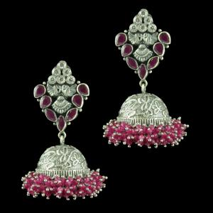 OXIDIZED SILVER JHUMKAS STUDDED CZ AND RED CORUNDUM STONES AND B