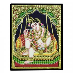TANJORE PAINTING BUTTER KRISHNA IN JHULA