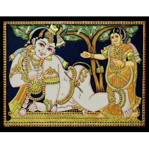 TANJORE PAINTING YASODHA KRISHNA ANTIQUE