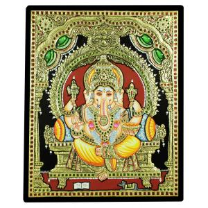 TANJORE PAINTING RED DHOTHI GANESHA
