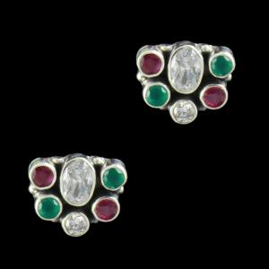 SILVER FLORAL DESIGN OXIDIZED EARRINGS WITH RUBY EMERALD AND CZ
