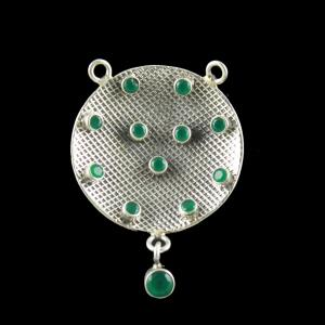 OXIDIZED SILVER PENDANT WITH GREEN ONYX STONES