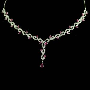 STERLING SILVER CZ STONE NECKLACE