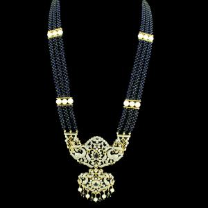 GOLD PLATED CZ STONE PEACOCK NECKLACE WITH BLUE SAPPHIRE AND PEA