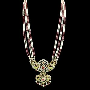 GOLD PLATED CZ STONE PEACOCK NECKLACE WITH RUBY AND PEARLS