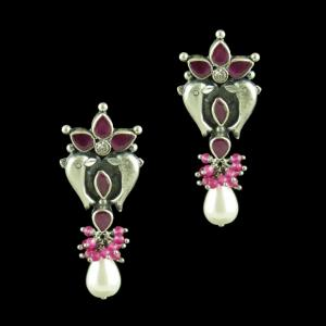OXIDIZED DOLPHIN EARRINGS WITH CZ RED CORUNDUM AND PEARLS