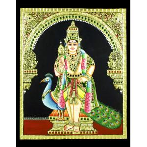 22ct Gold Handmade Lord Murugan Standing Tanjore Painting