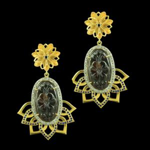 GOLD PLATED EARRINGS WITH CZ AND GARNET STONES