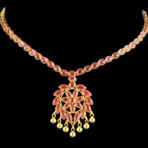 GOLD PLATED ONYX FLORAL NECKLACE