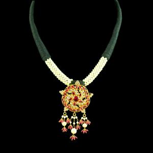 GOLD PLATED THREAD NECKLACE WITH CZ RUBY AND PEARL BEADS