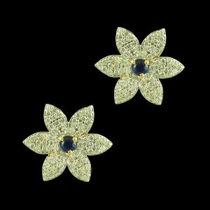 Gold Plated Six Leaf Floral Earrings