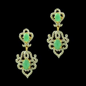 GOLD PLATED EMERALD AND CZ STONE EARRINGS