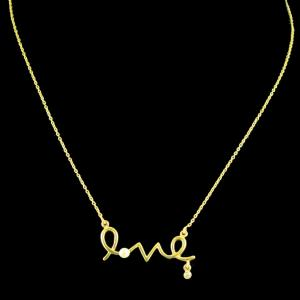 GOLD PLATED LOVE NECKLACE WITH PEARL