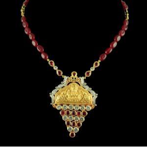 Gold Plated Nakashi Design Pendant with Polki stones And Semi Pr