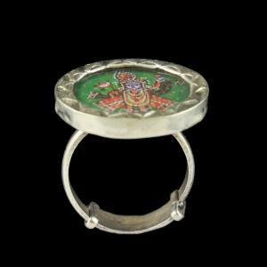 OXIDIZED SILVER KRISHNA BRIDAL RING