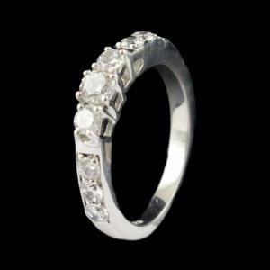 R13366 Sterling Silver Fancy Ring Studded Zircon Stones
