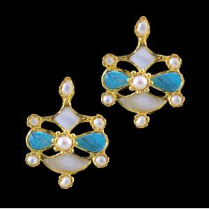 GOLD PLATED TURQUOISE STONE EARRINGS WITH PEARLS