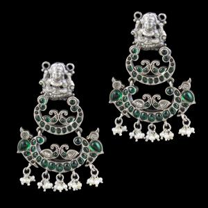 OXIDIZED SILVER LAKSHMI EARRINGS WITH ONYX AND PEARLS
