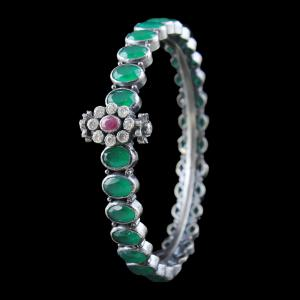 SILVER OXIDIZED EMERALD BANGLE WITH CZ AND RUBY