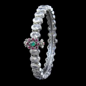 SILVER OXIDIZED CZ BANGLE WITH RUBY AND EMERALD