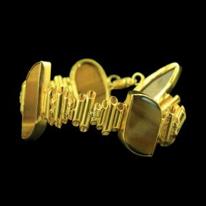 GOLD PLATED FANCY BRACELET WITH TIGER EYE STONES