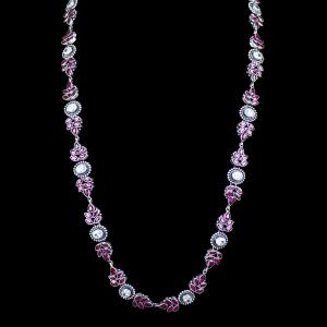 OXIDIZED SILVER RED CORUNDUM AND CZ FLORAL NECKLACE