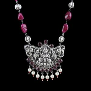 OXIDIZED SILVER LAKSHMI NECKLACE WITH RED QUARTZ AND PEARLS