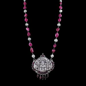 OXIDIZED SILVER LAKSHMI NECKLACE WITH RED QUARTZ AND GARNET BEADS
