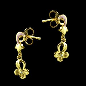 Gold Plated Floral Design Earrings
