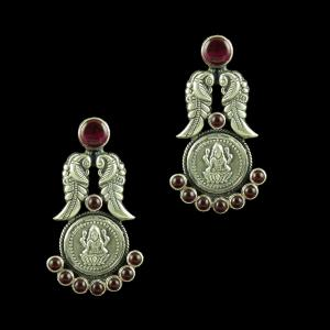 OXIDIZED SILVER LAKSHMI AND PEACOCK RED ONYX EARRINGS