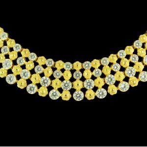 GOLD PLATED FLORAL CZ THREAD NECKLACE