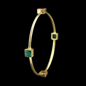 Gold Plated Bangle Studded Semi Precious Stones