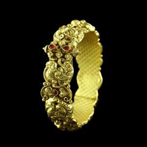 GOLD PLATED PEACOCK NAKASH BANGLE