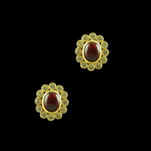 GOLD PLATED RUBY AND CZ OVAL EARRINGS