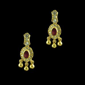 GOLD PLATED RUBY AND CZ EARRINGS
