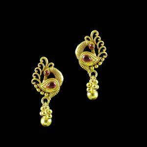 GOLD PLATED PEACOCK EARRINGS WITH RUBY