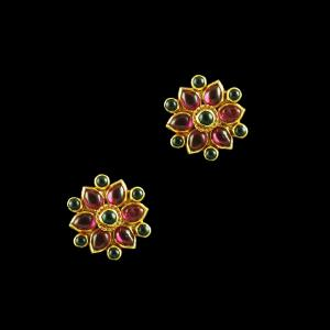 GOLD PLATED RUBY EMERALD FLORAL EARRINGS