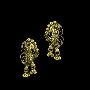 GOLD PLATED PEACOCK EARRINGS